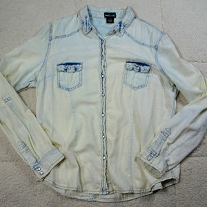 Women's Western Pearl Snap Wet Seal Shirt X-Large